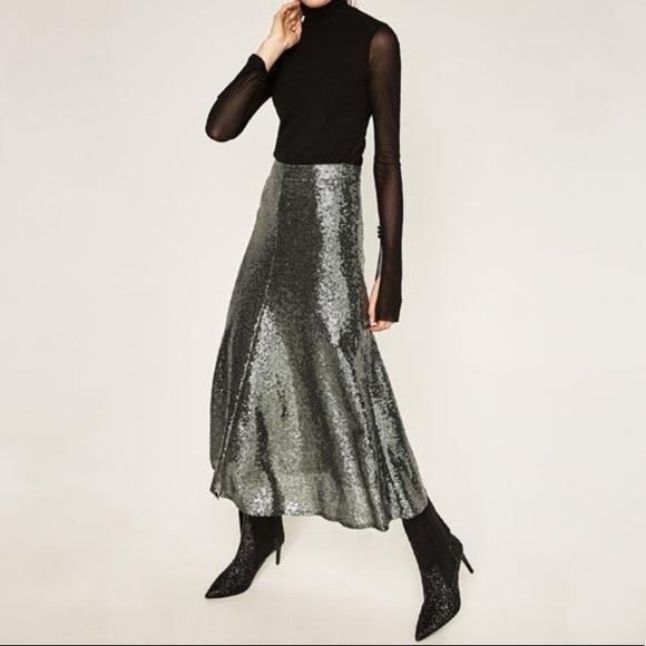 0619e115b Zara Skirts   Nwt Gray Sequin Skirt Xs 3440247802   Poshmark