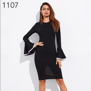 da9b3cf5133 Elegant trumpet sleeve slit back dress 😱😎🎁