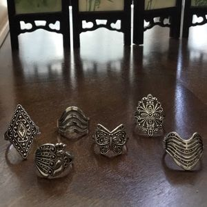 Jewelry - Six Tibetan Silver Rings