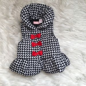 Black White Houndstooth Snap Puffer Vest with Bows