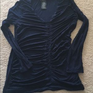 Design history ruched navy top