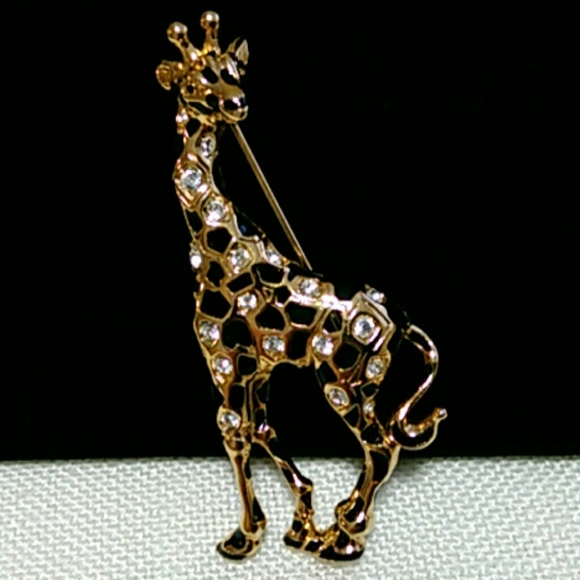 298d23702 Swarovski Jewelry | Signed Giraffe Pin Broochretired | Poshmark