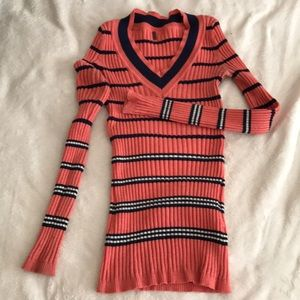 Pink Sweater with Navy Blue/ White Stripes