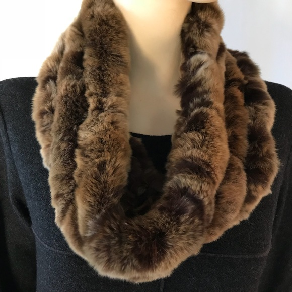 badde8de0fe New Surell Rex Rabbit Fur Infinity Scarf
