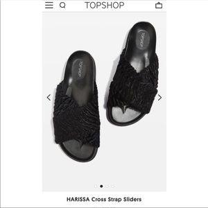 "NWOT✨TOPSHOP ""Harissa"" faux fur slide slippers"