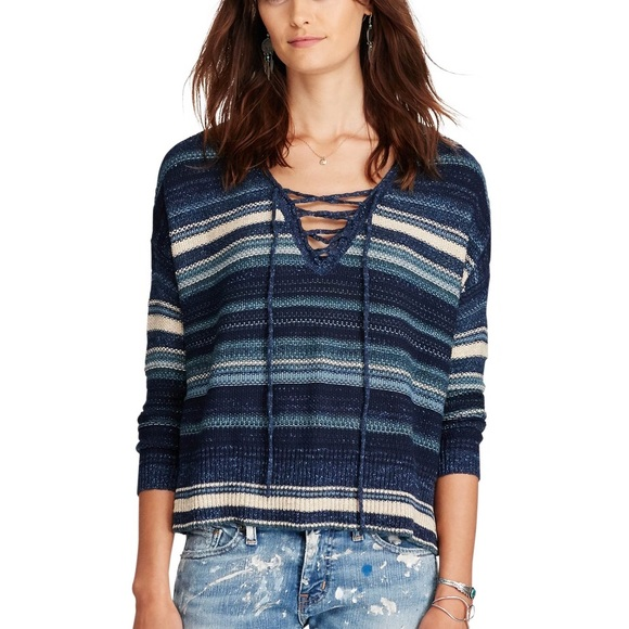 bd56e5eb54 Denim   Supply Ralph Lauren Sweaters - Denim   Supply Blue Striped Lace Up  Sweater