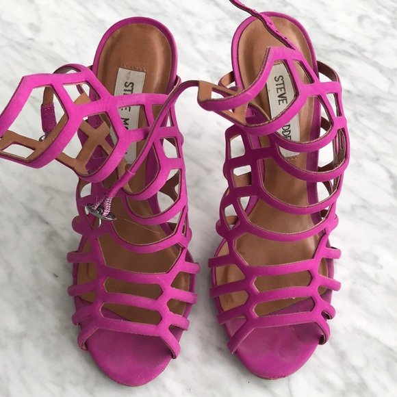 64% off Steve Madden Shoes - Steve Madden Hot Pink Strappy Heels ...