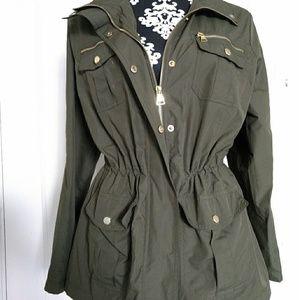 Olive green military-style rain jacket