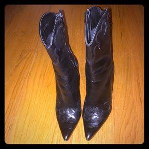 BCBGirls RARE Black Leather Heeled Boots EUC