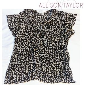 Allison Taylor brown sheer ruffle sleeveles blouse