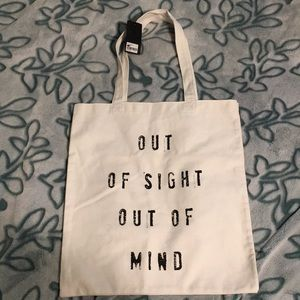 """""""Out side out of mind"""" cloth bag NEW WITH TAGS"""