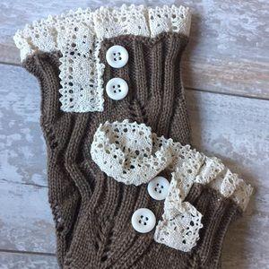 Mocha-Lace Knit Arm-Warmers.17382