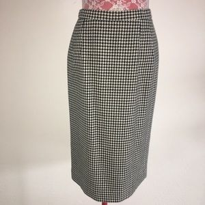 Vintage Houndstooth Wool Skirt