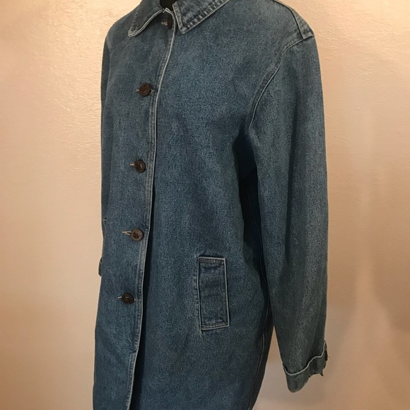 Vintage Jackets & Coats - Cute vintage 90's denim fisherman coat jacket