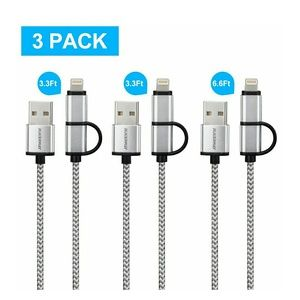 Other - 2 in 1 Power Charging Cord for iPhone & Android