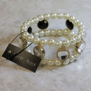 NWT gold bracelet with pearl, black/clear WHBMB5