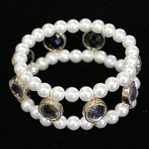 NWOT gold bracelet & pearl, black/clear WHBMB5nc