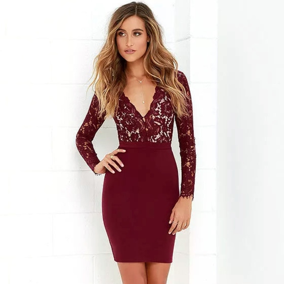 Lulus Burgundy Long Sleeve Lace Dress