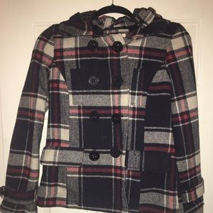 Heritage 1981 Navy Plaid Coat with Hood Size S
