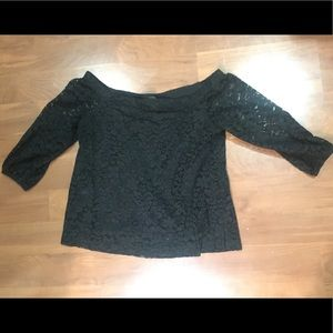Black Lacy Off The Shoulder Ann Taylor Top