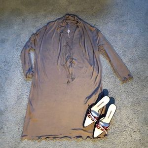 EMILIO PUCCI solid beige loose fitting dress sz6