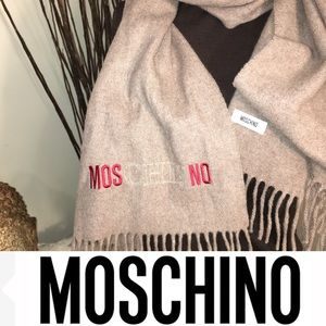 Moschino Wool Embroidered Fringe Scarf