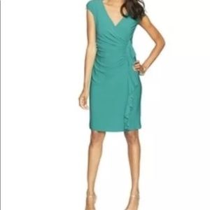 American Living Ruched Jersey Knit Faux Wrap Dress