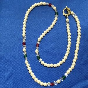 Jewelry - Holiday Pearl and Crystal Necklace