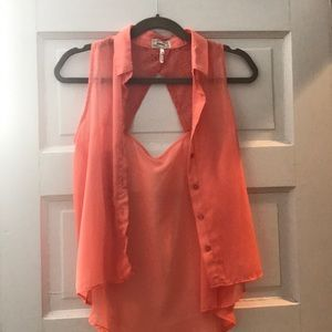 Kirra Coral high low collared button up sheer tank