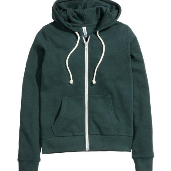 53b8f57de41 H&M Tops | Hm Divided Dark Green Zip Up Hoodie Sweatshirt | Poshmark