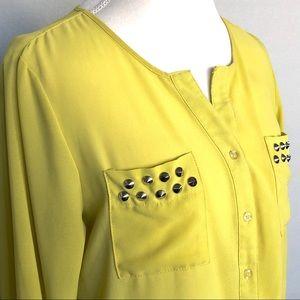Moon Collection Studded Lime Dressy Shirt SZ M