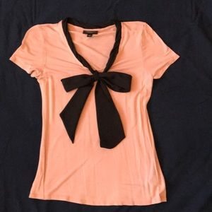 Holiday Jersey blouse with bow accent, light pink
