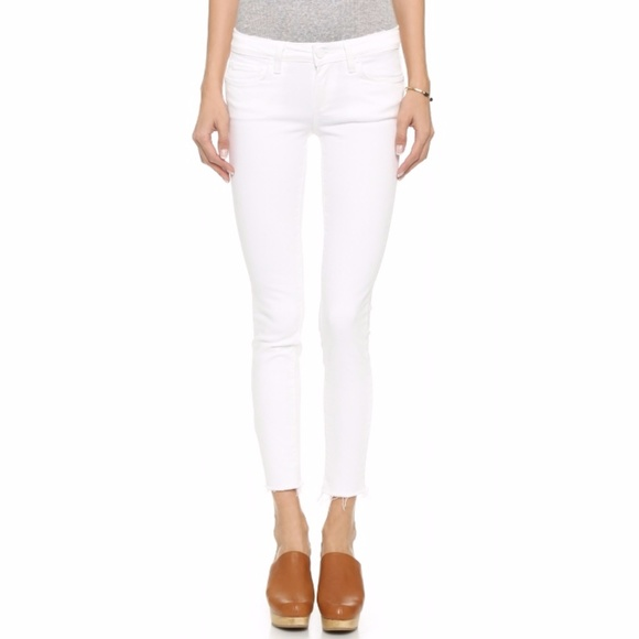 Paige Jeans Denim - Paige 'Verdugo' white ankle jeans with raw hem