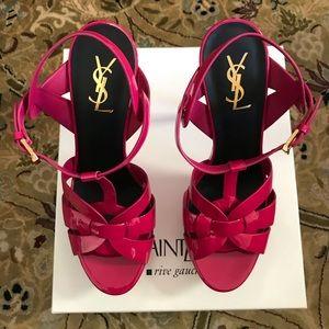 Saint Laurent Tribute High-Heel Patent Sandal NWT