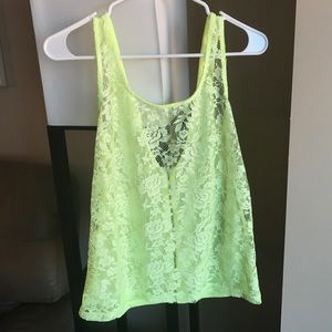 Lace Highlighter Yellow Tank Top