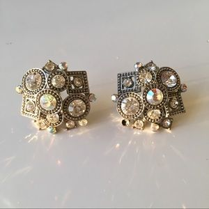 Kenneth Jay Lane Crystal Geometric Earrings
