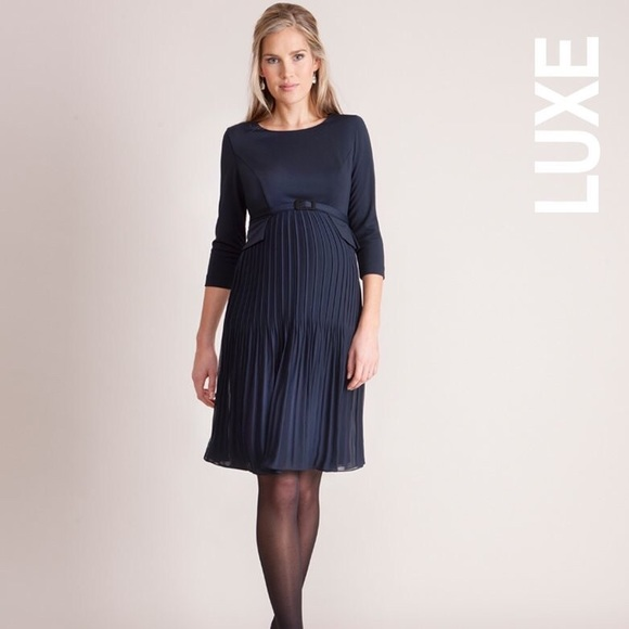 8b9fdaa6d2ecc Seraphine Dresses | Nwt Navy Blue Pleated Maternity Dress | Poshmark