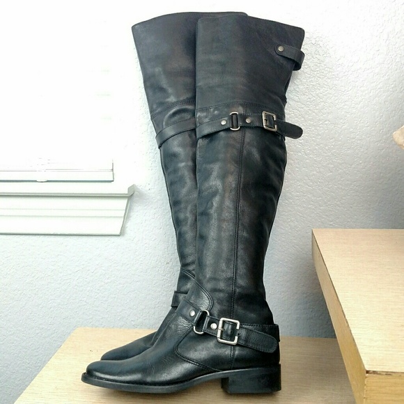 f5d83d03a95 Matisse Shoes | Black Leather Over Knee Thigh Tall Boots 6 | Poshmark