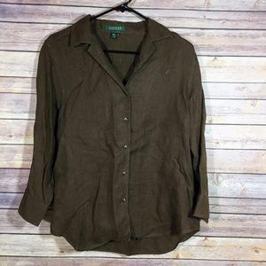 Ralph Lauren 100% Linen Button Front Blouse Size M