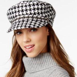 Houndstooth Wool Newsboy Hat