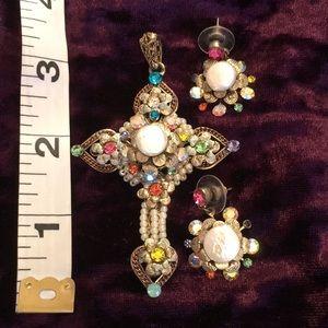 Antique jeweled cross pendant earrings set vintage
