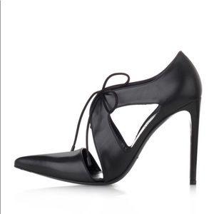 Balenciaga Black Pointed Toe Lace Up Pump