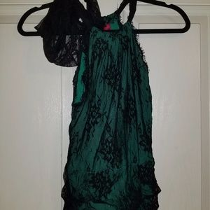 Sexy Little Things Lingerie Top Green & Black Lace
