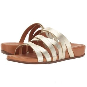 Fitflop Lumy Pale Metallic Gold Slide Sandals