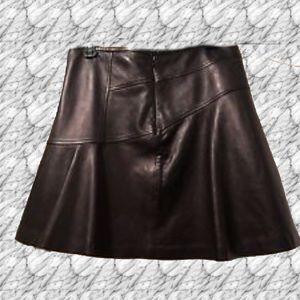 Diane von Furstenberg lamb leather flirty skirt