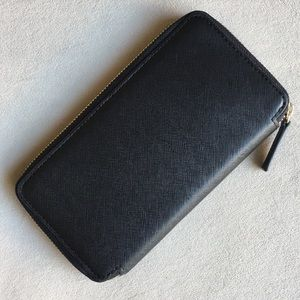 Barneys New York black saffiano leather wallet
