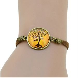 Jewelry - Boho Tree Of Life Cabochon Brown Leather Bracelet