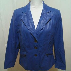 🌼 Blue Faux Leather Jacket EUC