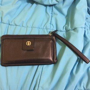 Giani Bernini soft black leather wristlet