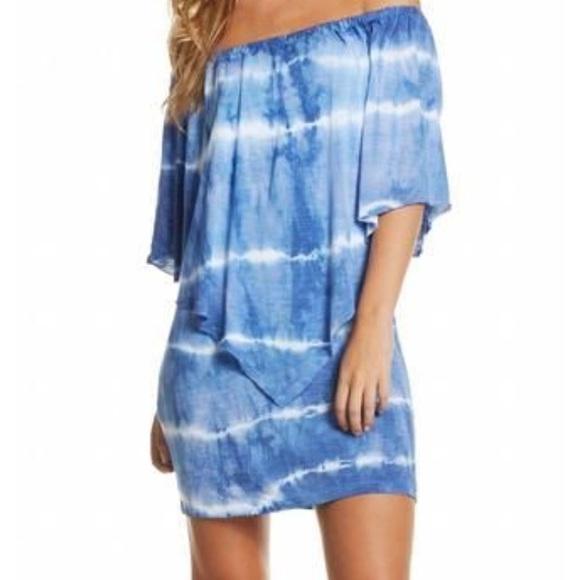 7381bbc7895f Elan NWT blue tai dye off the shoulder dress